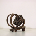 PMS Cradle - lost wax bronze, angle view; commission by Robert Brittan
