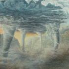 "Tornado Land - 16"" x 8"", oil on canvas"